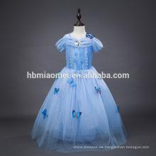 2016 nueva moda Color azul claro película cosplay niño princesa vestido al por mayor