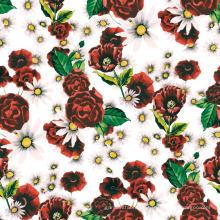 Tela impresa flor digital de la ropa del poliéster de la flor