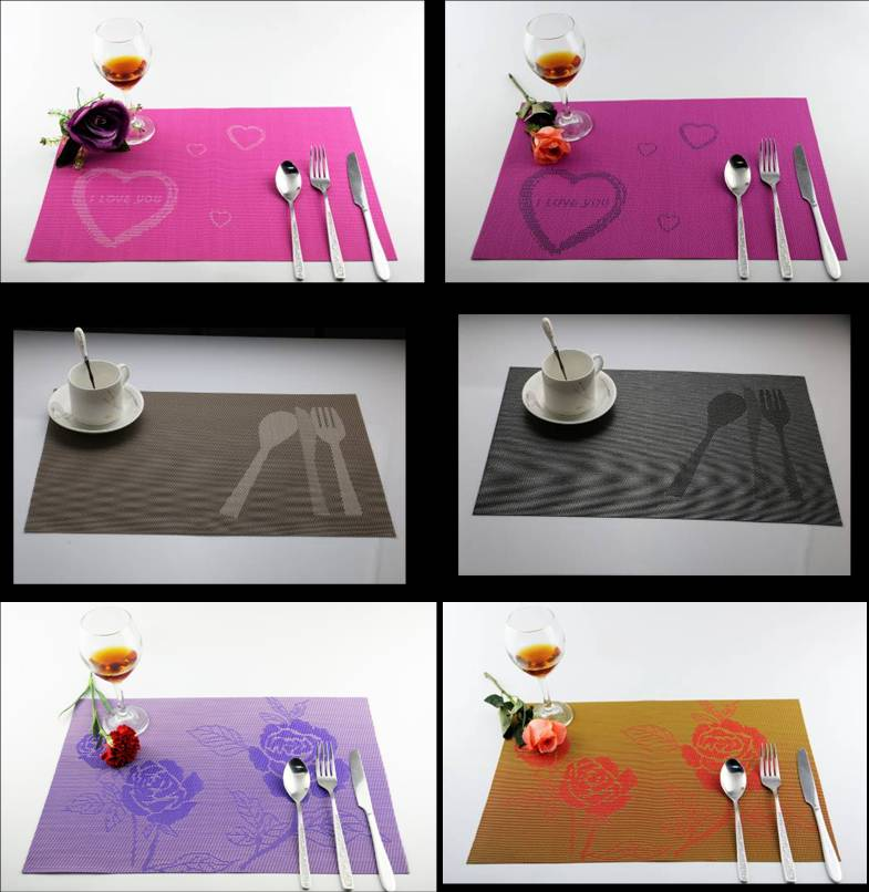 Love a knife and fork PVC table mat decoration cushion roses3232