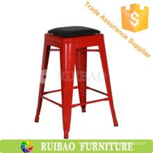 Industrial Iron Bar Stool Replica Metal Dining Chair with PU Seat Vintage Metal Bar Stool