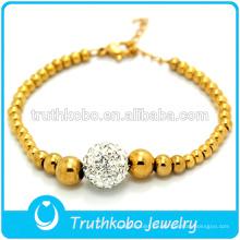 Brazalete de oro Rosario Pulsera religiosa Brazalete de piedras preciosas unisex de acero inoxidable