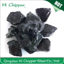 Bloque de vidrio grande ajardinado de color negro