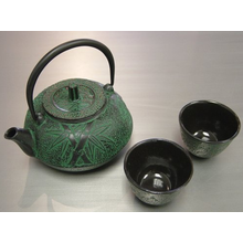De hierro fundido japonés té taza de vaso de bambú verde