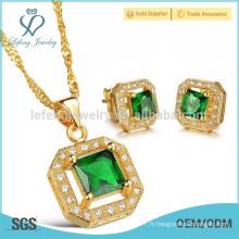 Ensemble de bijoux plaqué or 18k en or, pendentifs en cristal et ensemble pendentif en bijoux