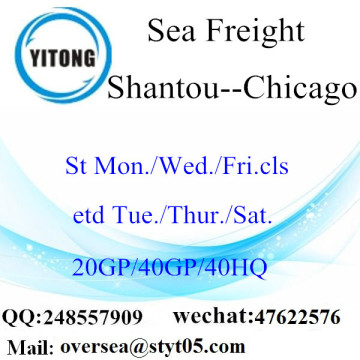 Shantou Port Sea Freight envío a Chicago