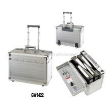 Nuevo estilo maletín de portátil de aluminio con 2 ruedas incorporadas por mayor