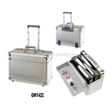 New style portable aluminum briefcase with 2 built-in wheels wholesales