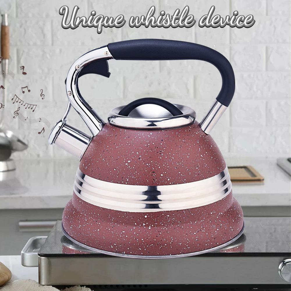 Red with Stainless Steel Design Whistling Teapot