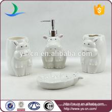 ceramic hippo kids accessories set for bathroom