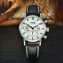 Elegant style genuine leather chronograph watches
