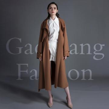 Cappotto in cashmere double face marrone scuro