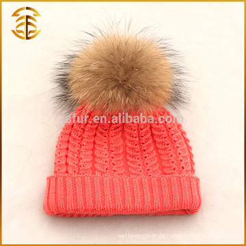 Factory Direct Versorgung Wolle Winter Kinder Pelz Pom Bobble Hut