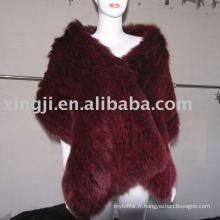 Châle de fourrure de renard tricoté teint