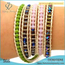 2016 hot sale beaded jewelry bohemian colorful multi wrap leather bracelet leather wrap bracelet
