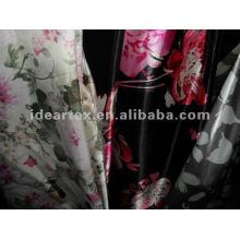 Impreso a satén de seda-como tela agraciada para vestido de Dama