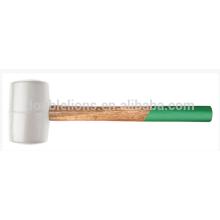 Martelo de borracha branco com alça de madeira, martelo de borracha