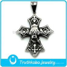 Argent pendentif tête de mort celtique pendentif en acier inoxydable collier lourd gothique bijoux mode homme lourd anneau
