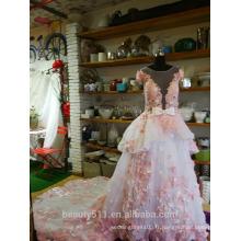 Robe de mariée princesse robe de bal Royal Longueur train Bateau dentelle organza Tulle avec fleur robe de mariée en dentelle P099