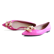 Mode haute qualité femmes chaussures plates en peau de mouton en cuir