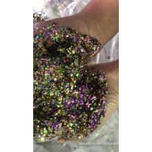 Gemischter klobiger Glitter, verschiedene Größen von Glitzerformen, Sechseckglitter