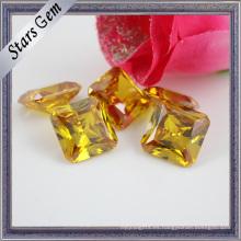 Octagon Cuadrado Amarillo Brillante Princesa Cortar CZ Piedra Preciosa