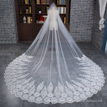 Großhandel Hochzeit Braut lang Schleier mit breiten Applique Spitze