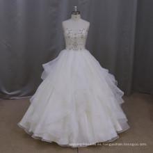 M806 Vestido nupcial pesado del vestido de boda del amor de la piedra que rebordea 2016