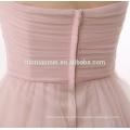 Venda quente e preço barato luz rosa vestido de noite tecidos design curto acima do comprimento do joelho Vestido de noite 2017 com pescoço namorada