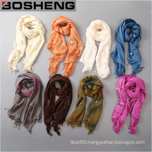 Women Long Pure Ribbon Bright Pearl Scarf with Fringed