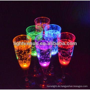 Costom führte 150ml Flüssigkeit aktiv dekorative LED Sektglas Glühen Glasschale für club