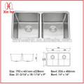 Малый Радиус Р25 sus 304 нержавеющей стали двойной чаши кухонная раковина(D02R)(D68)