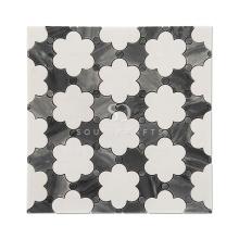 Soulscrafts Foshan White Thassos marble Flower Blend Waterjet Mosaic Tile