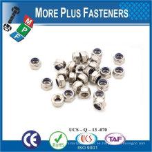 Fabricado en Taiwán M16-2.0 DIN 985 Grado A2 de acero inoxidable de nylon insertar tuerca de bloqueo