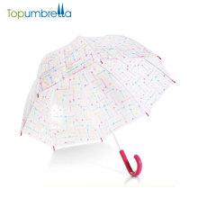 оптовая дешевые ПВХ изготовленное на заказ печатание дождь прям мода прозрачный зонтик для свадьбы