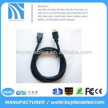 Nouveau Premium Noir 1.4V plaqué or Câble HDMI avec nylon mâle à mâle pour 1080p PS3 HDTV
