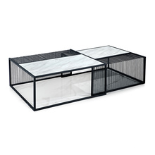 Long Rectangle Marble Top Coffee Table with Black Metal Base