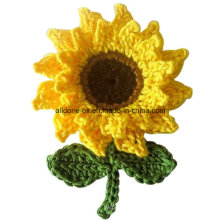 Cute Hand Crochet Sunflower with Leaves Made to Order