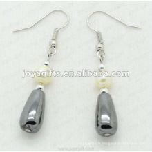 Boucles d'oreilles à perles goutte à l'hématite magnétique