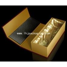 Embalagem de presente de luxo Caixa de vinho de papel com inserto de seda