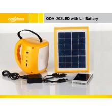 Sistema de iluminación solar portátil Oda-202 LED con batería de plomo 6V / 4ah