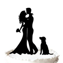 Bride and Groom Silhouette Wedding Cake Topper avec chien animal de compagnie