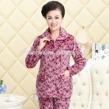 Alta juego de las mujeres pijamas caliente paño grueso y suave barata calidad venta por mayor