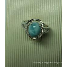 Joias de prata esterlina Larimar natural em anel (R0293)