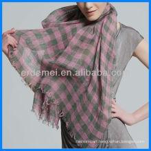 100% linen plaid pattern scarf fabric