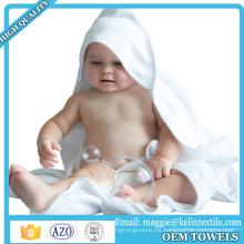 Toalla encapuchada del bebé de bambú orgánico del diseño personalizado, toalla encapuchada del bebé del bebé blanco