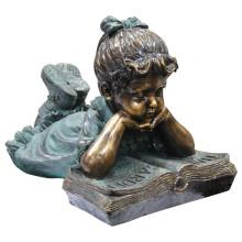 Bronze Mädchen lesen Statue