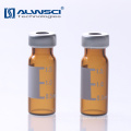 11mm Crimp top autosampler amber glass vials 1.5ml with label for injection