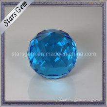 Big Size Aqua Blue Facets Decoration Glass Ball