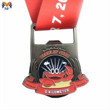 Medalha de frutos do mar com logotipo personalizado de metal de liga de zinco