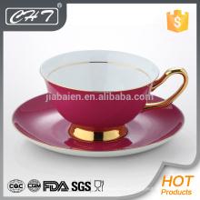 Luxus rote Teetasse und Untertasse Großhandel mit Gold Hand